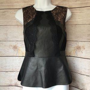 ‼️SALE‼️-BCBG Laine Leather Lace Peplum Top